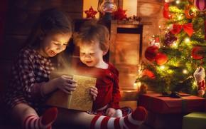 Picture joy, children, gift, tree, the evening, New year, garland