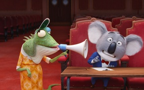 Wallpaper cinema, film, animated film, animal, Sing, megaphone, chameleon, koala, movie, animated movie, family, theater