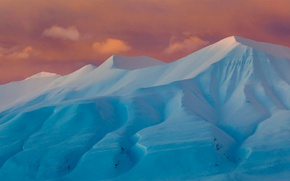 Picture winter, snow, mountains, Norway, glow, Adventdalen