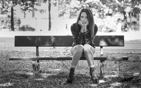 Picture bench, face, hair, cutie, Carlotta