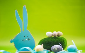 Picture moss, eggs, ball, Rabbit, Easter, Orthodox holiday