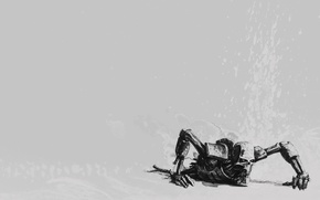 Picture fantasy, game, robot, Warhammer 40000, minimalism, science fiction, sci-fi, Necrons