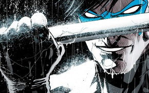 Picture smile, weapons, hero, fist, DC Comics, Dick Grayson, Nightwing, Dick Grayson, Nightwing
