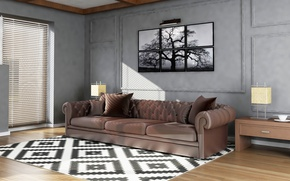 Picture light, design, style, sofa, graphics, picture, living room