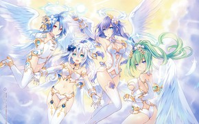 Picture girls, anime, angels, art, hyperdimension neptunia
