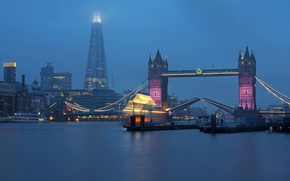 Picture fog, river, England, London, tower, Thames, Tower bridge