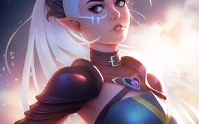 Picture look, girl, elf, anime, art, white hair, antalya