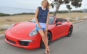 Picture look, girl, smile, Girls, Porsche, red car, Maria Sharapova