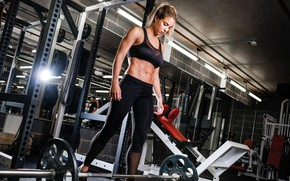 Wallpaper barbell, gym, model, weight, gym clothes, Gemma Atkinson
