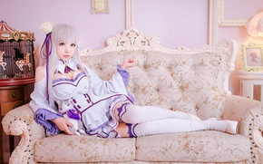 Picture kawaii, girl, woman, nothing, anime, cat, beautiful, pretty, cosplay, asian, Emilia, pose, manga, japanese, oriental, …
