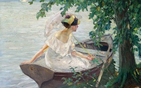 Picture picture, Edward Cucuel, Edward Cucuel, girl, Departure by Boat, umbrella