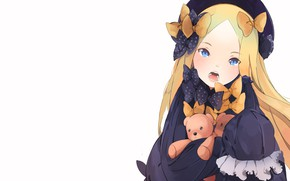 Picture background, girl, bear, bows, Fate Grand Order