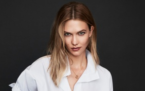 Picture look, background, model, portrait, makeup, hairstyle, white, shirt, brown hair, It, Karlie Kloss, Karlie Kloss, …