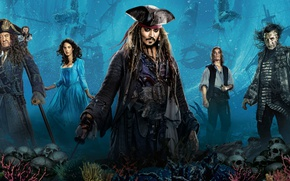 Wallpaper Jack Sparrow, Johnny Depp, sunken, Dead men tell no tales, Pirates of the Caribbean: Dead ...