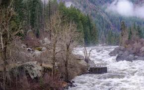 Picture river, mountain, the bridge
