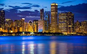 Picture water, lake, building, Chicago, Il, night city, Chicago, Illinois, skyscrapers, Lake Michigan, Lake Michigan