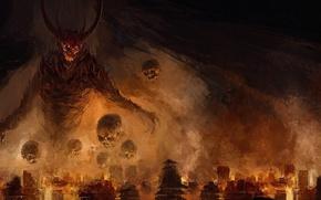Picture the city, wings, the demon, horns, skull, demon, the devil, sake, devil, hell, hell, flame …