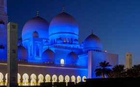 Picture night, lights, the dome, Abu Dhabi, the Sheikh Zayed Grand mosque, OAЄ