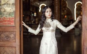 Wallpaper Asian, dress, girl, face, hair