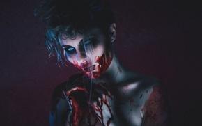 Wallpaper face, girl, horror, blood, fear, look