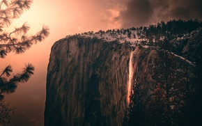 Picture clouds, light, trees, mountains, branches, nature, rock, waterfall