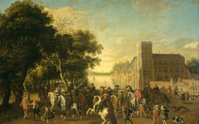 Picture picture, the urban landscape, genre, Pauwels of Hillegaert, Prince Maurice in the company of Prince …