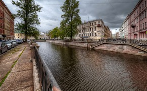 Picture trees, machine, clouds, people, overcast, home, Saint Petersburg, Russia, The Canal