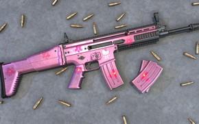 Wallpaper Pink, Scar, Assault Rifle