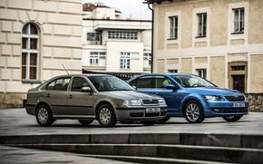 Picture the city, street, home, Skoda, Skoda, Octavia, the first generation, the third generation, sedans