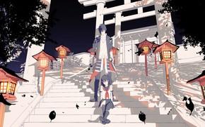 Picture girl, anime, art, guy, Touken ranbu, Dance Of Swords, black leaves, Chech