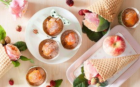 Picture Apple, roses, horn, waffles, cupcake, muffins, pumpkin
