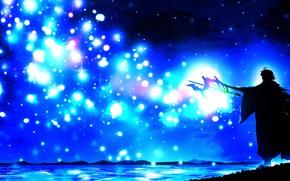 Picture night, magic, staff, guy, by Harada Miyuki