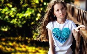 Picture portrait, girl, curls, bokeh