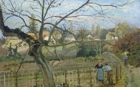 Picture landscape, picture, genre, Camille Pissarro, Conversation at the Fence