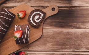 Picture chocolate, cream, dessert, wood, sweet, roll, cutting Board