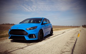 Picture ford, road, field, blue, focus, 2017
