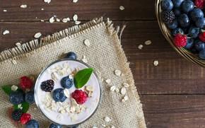 Picture berries, yogurt, ajivika, blueberries, raspberry