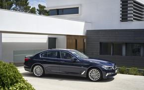 Picture house, vegetation, BMW, Parking, sedan, xDrive, 530d, Luxury Line, 5, dark blue, four-door, 2017, 5-series, …