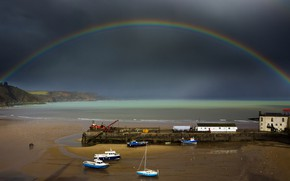 Picture boat, rainbow, tide, harbour, Wales, Tenby