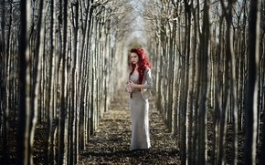Picture girl, trees, nature