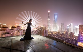 Picture roof, girl, pose, dress, Shanghai, night city