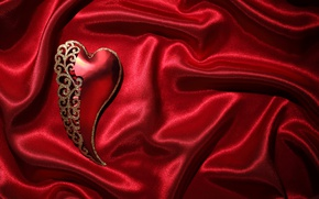 Picture red, love, heart, romantic, silk, valentine`s day