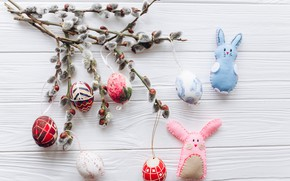 Picture Happy, eggs, spring, tender, Easter, eggs, Easter, wood, Verba, colorful, decoration, branches, spring