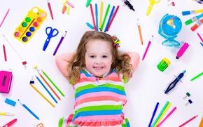 Picture joy, smile, background, child, pencils, colorful, girl, handle, smile, background, child, glance, pencils, little girls