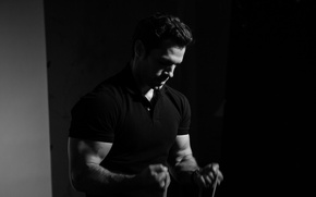 Wallpaper Felix, muscles, Men's Fitness, t-shirt, actor, biceps, black and white, athlete, Henry Cavill, Henry Cavill
