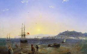 Wallpaper picture, ship, canvas, oil, Ivan Aivazovsky, Kerch