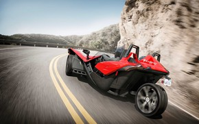 Picture red, beautiful, comfort, hi-tech, Polaris, Slingshot, technology, sporty, tricycle, 040