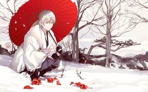 Picture snow, umbrella, anime, art, guy, Touken ranbu