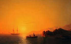 Picture boat, sailboat, calm, Aivazovsky Ivan, oil painting, painting painting, sea - sea