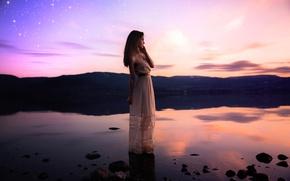 Picture girl, lake, stars, dress, Lichon